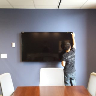 boardroom TV install in Vancouver BC by a Pure Image installer.