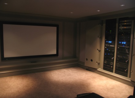 Home Theatre system with projector and racks in Vancouver BC.