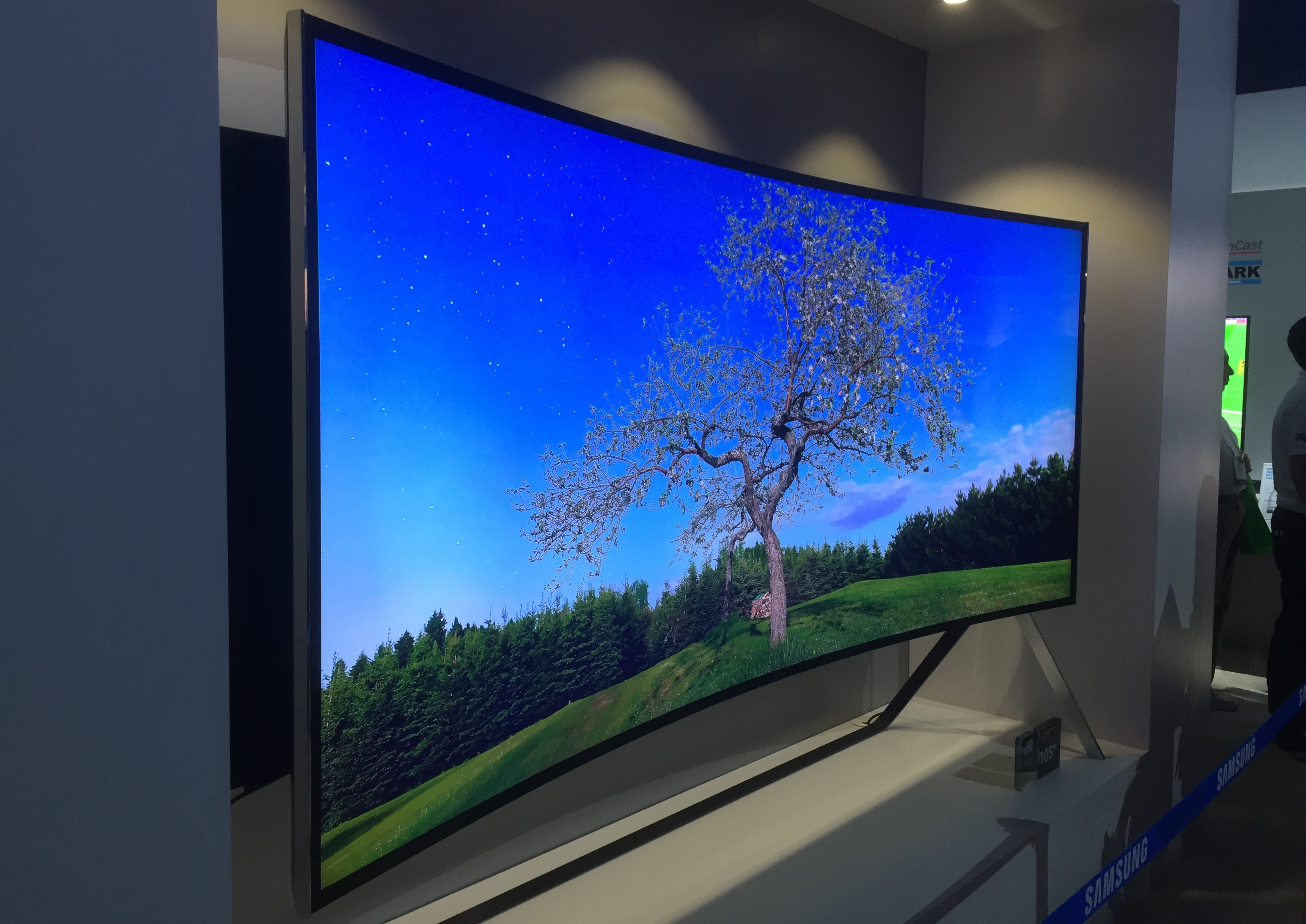 Samsung 105 inch curved LED TV on display at CES2015.